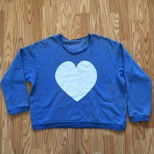 NEW WILDFOX COUTURE BLUE HEART SWEATER SZ MEDIUM